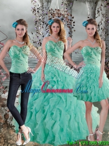 Detachable Aqua Blue Quinceanera Dresses with Beading and Ruffles