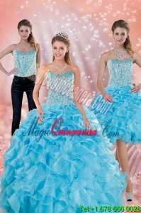 Detachable Sweetheart Ruffled Quinceanera Dresses in Baby Blue