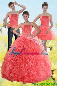 Watermelon Detachable Sweet 15 Dresses with Beading and Ruffles
