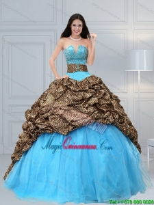 Fashion 2015 Baby Blue Leopard Printed Quinceanera Dresses with Beading