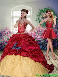 Fashion 2015 Sweetheart Wine Red Brush Train Quinceanera Dress with Beading