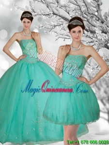 Fashion Apple Green Strapless Quince Dress with Appliques and Beading for 2015