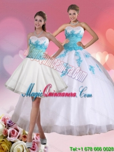 Fashion BeadIing Sweetheart Quinceanera Dress in White and Blue