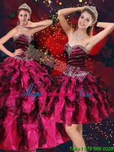 Fashion Multi Color Sweetheart Quince Dresses with Beading and Ruffles
