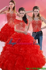 Fashion Red Quince Dresses With Beading and Ruffles for 2015
