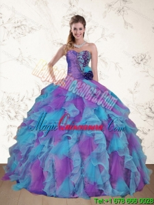 Fashion Strapless Beading and Ruffles Multi Color Sweet 15 Dress