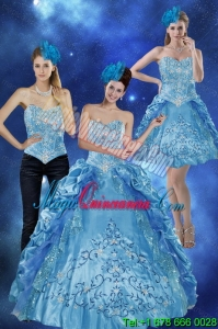 Fashion Sweetheart Teal Quinceanera Gown with Embroidery and Pick Ups