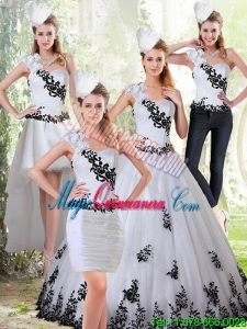Fashion White and Black Sweetheart Quinceanera Dress with Embroidery