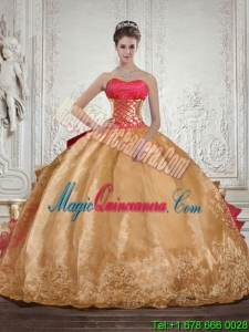 Strapless Multi Color Fashion Quinceanera Dress with Beading and Embroidery