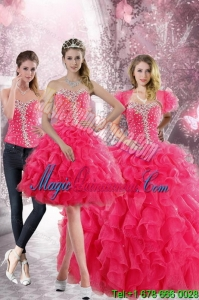 2015 Gorgeous Hot Pink Sweetheart Sweet 15 Dresses with Beading and Ruffles