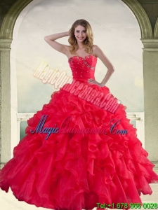 Luxury Red Strapless Quinceanera Dress with Ruffles and Beading