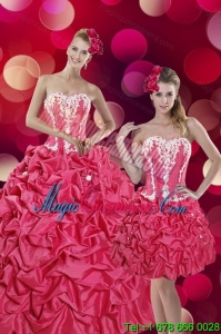 2015 Luxury Hot Pink Sweet 15 Dresses with Pick Ups and Appliques