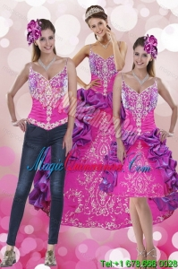 Luxury Pick Ups and Embroidery Multi Color 2015 Quinceanera Dresses with Sweep Train