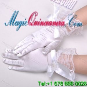 Chic Lycra Fingertips Wrist Length Bridal Gloves With Bow