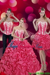 2015 New style and Fashionable Pick Ups and Appliques Hot Pink Quinceanera Dresses