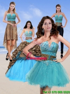 2015 New style and Unique Leopard Print Baby Blue Quinceanera Dresses with Brush Train and Beading