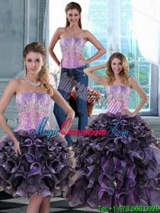 New style 2015 Fashionable Appliques and Ruffles Quince Dresses in Multi Color