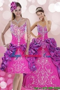 New style Multi Color Sweep Train 2015 Quince Dresses with Pick Ups and Embroidery