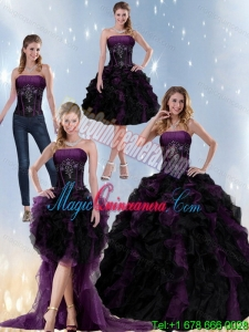 New style and Exclusive Multi Color Strapless Quinceanera Dresses with Beading and Ruffles