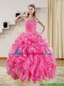 Gorgeous Hot Pink Sweet 15 Quinceanera Dresses with Beading and Ruffles for 2015