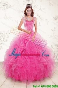 Popular 2015 Sweetheart Hot Pink Sweet 15 Quince Gown with Beading and Ruffles