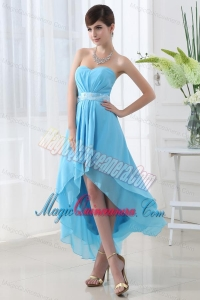 A-line Baby Blue Chiffon High-low Sweatheart Dresses for Dama with Belt