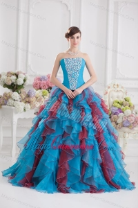 Ball Gown Strapless Organza Beading Ruffles Multi-color Quinceanera Dress