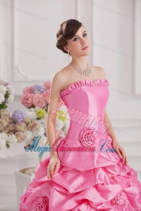 7dde9dc786 Ball Gown Strapless Pick-ups Rose Pink Quinceanera Dress with Hand Made  Flowers. triumph. Loading zoom. This is a finished dress tailored and  photographed ...