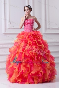 2014 Spring Puffy Multi-color Strapless Beading Quinceanera Dress with Ruffles