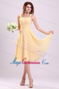 Simple Yellow Dama Dresses with A-line Straps Tea-length