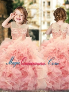 Wonderful Ruffled and Laced Kid Pageant Dress with See Through Scoop