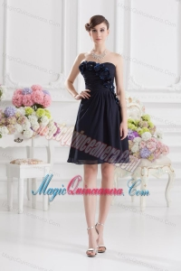 Black Sweetheart Dama Dresses with Ruching and Handle Made Flowers