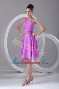 A-line One Shoulder Lilac Chiffon Knee-length Dama Dress for Quinceanera
