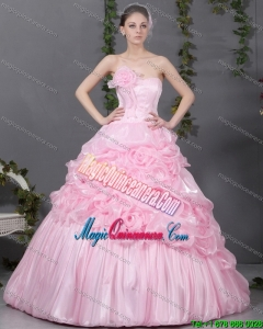 2015 Popular Pink Quinceanera Gowns with Hand Made Flowers and Ruffles