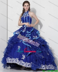 Halter Top Appliques Royal Blue 2015 Quinceanera Dresses with Ruffles and Brush Train