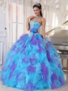 Appliqued Bodice Blue and Lavender Quinceanera Gowns Dresses 2015