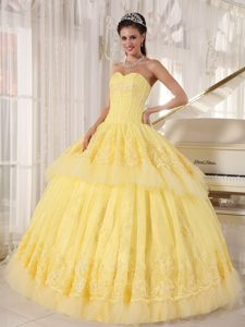 Yellow Sweetheart Quinceanera Gowns Dresses with Appliques Ruffles