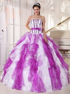 Lavender and White Dresses of 15 with Appliques and Puffy Ruffles