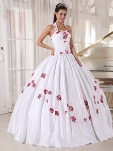 White Halter Taffeta Dresses of 15 with Wine Red Embroidery 2013