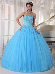 Beaded Bodice Sweetheart Sky Blue Tulle Dresses of 15 in Arecibo