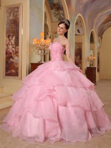Beading Flowers Ruffles Organza Dresses Quinceanera in Rose Pink