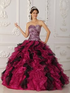 Colorful Ruffles and Beading Dresses Quinceanera with Leopard Print