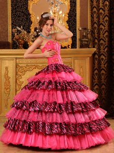 Hot Pink Dresses Quinceanera with Zebra Print Ruffles in Puerto Rico