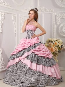 Zebra Print and Beading Accent Pink Taffeta Dress for Quinceanera