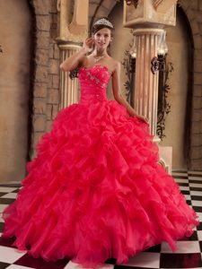 Beading and Ruffles Accent Dresses for Quinceaneras in Coral Red