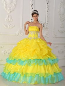 Appliqued and Ruffled Dress for A Quince in Mint and Bright Yellow