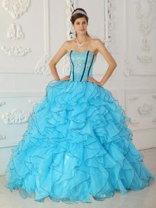 Appliqued and Ruffled Sweet Sixteen Quinceanera Dresses in Blue