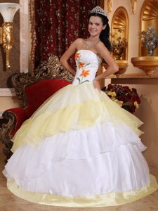 Embroidered White and Yellow Sweet Sixteen Dress in Puerto Rico