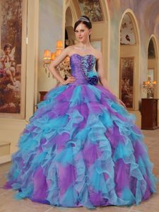 Lavender and Blue Organza Sweet 16 Dresses with Appliques Ruffles