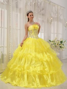 Beading Ruffles Accent Sweet 16 Dresses in Yellow in Puerto Rico ...